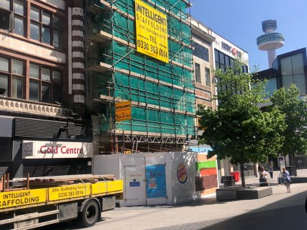 Scaffolding at Burger King Lord Street Liverpool